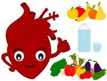 Illustrazione divertente del fumetto dell'alimento sano e del cuore umano Immagine Stock