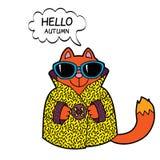 Illustrazione divertente del gatto del fumetto Fotografie Stock