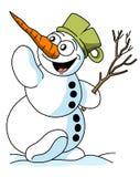 Illustrazione divertente del pupazzo di neve del fumetto, tema di Natale illustrazione di stock