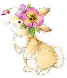 Illustrazione divertente dell'acquerello del fiore e del coniglio Immagini Stock