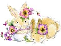 Illustrazione divertente dell'acquerello del fiore e del coniglio Immagini Stock Libere da Diritti
