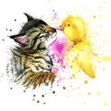 Illustrazione divertente dell'acquerello dell'anatra e del gattino Immagine Stock