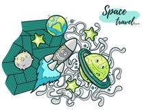Illustrazione divertente di scarabocchio dell'universo Fotografia Stock