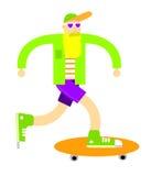 Illustrazione divertente di un skateboarder con la barba e l'abbigliamento variopinto Illustrazione Vettoriale