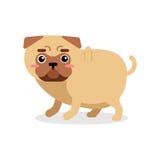 Illustrazione divertente di vettore del carattere del cane del carlino del fumetto Fotografie Stock Libere da Diritti