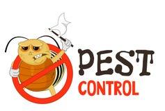 Illustrazione divertente di vettore del logo di controllo dei parassiti per l'affare di fumigazione La dorifora della patata bloc royalty illustrazione gratis