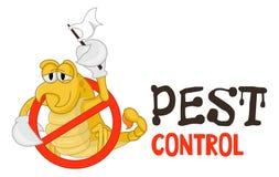 Illustrazione divertente di vettore del logo di controllo dei parassiti per l'affare di fumigazione Scorpione bloccato comico Pro illustrazione di stock
