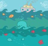 Illustrazione divertente di vista sul mare Fotografia Stock Libera da Diritti