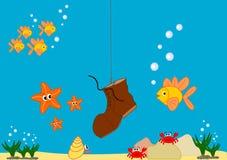 Illustrazione divertente e sveglia del fumetto di vita di mare Fotografie Stock Libere da Diritti