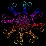 Illustrazione dolce della mandala di amore Struttura rotonda sul nero Carta di colori dell'arcobaleno Segno scritto mano nel verd illustrazione vettoriale