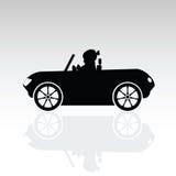 Illustrazione dolce della siluetta dell'automobile dell'azionamento del bambino Immagini Stock