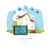 Illustrazione domestica astuta di vettore, tecnologia piana della casa Fotografie Stock