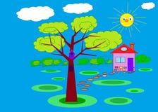 Illustrazione domestica felice Immagine Stock