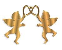 Illustrazione dorata 3D del biglietto di S. Valentino dei Cupids Immagine Stock Libera da Diritti