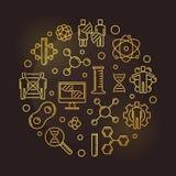 Illustrazione dorata del giro dorato genetico umano di modifica illustrazione di stock