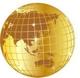 Illustrazione dorata del globo Fotografie Stock Libere da Diritti
