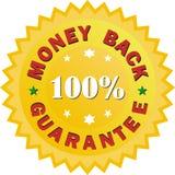 Illustrazione dorata del segno di garanzia soddisfatti o rimborsati Fotografia Stock Libera da Diritti