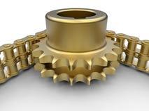 Illustrazione dorata della catena e dell'ingranaggio Immagini Stock
