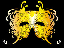 Illustrazione dorata della mascherina della farfalla Fotografia Stock Libera da Diritti