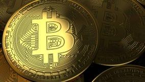 Illustrazione dorata della rappresentazione della moneta 3D di Bitcoin Valuta di Digital illustrazione vettoriale