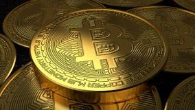 Illustrazione dorata della rappresentazione della moneta 3D di Bitcoin Valuta di Digital royalty illustrazione gratis