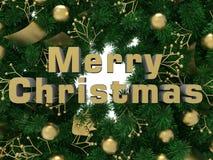 Illustrazione dorata di concetto di Buon Natale Immagine Stock Libera da Diritti