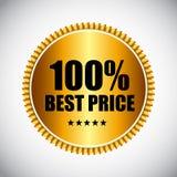 Illustrazione dorata di vettore dell'etichetta di migliori prezzi Immagine Stock