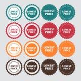 Illustrazione dorata di vettore dell'etichetta di prezzi più bassi Immagini Stock