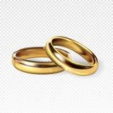 Illustrazione dorata di vettore delle fedi nuziali 3d royalty illustrazione gratis
