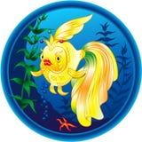 Illustrazione dorata meravigliosa dei pesci Fotografia Stock