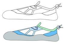 Illustrazione e schizzo semplice della scarpa da tennis di modello Fotografia Stock