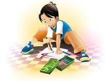 Illustrazione ed illustrazione del ragazzo del bambino drawing Immagine Stock Libera da Diritti