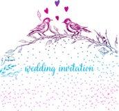 Illustrazione elegante e sveglia Gli uccelli si siedono su ogni ramo Stampando per il tessuto e gli scopi di industriale E un bel royalty illustrazione gratis
