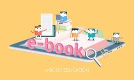 Illustrazione elettronica di concetto del libro del carattere piano Fotografia Stock