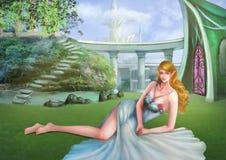 Illustrazione: Elf nel suo giardino magico Fotografie Stock Libere da Diritti