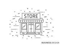 Illustrazione esteriore piana lineare di architettura del pæsaggio del deposito moderno del progettista Fotografie Stock