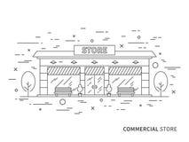 Illustrazione esteriore piana lineare di architettura del pæsaggio del deposito moderno del progettista illustrazione di stock