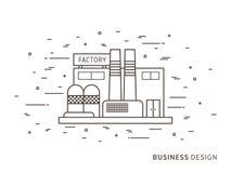 Illustrazione esteriore piana lineare di architettura del pæsaggio della fabbrica Fotografia Stock Libera da Diritti