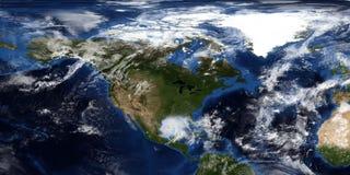 Illustrazione estremamente dettagliata e realistica 3D di un uragano che si avvicina a Nord America Sparato da spazio Elementi di fotografie stock