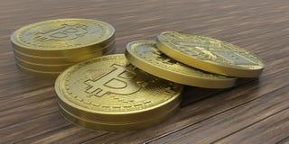 Illustrazione estremamente dettagliata e realistica di alta risoluzione 3D Bitcoin Fotografia Stock