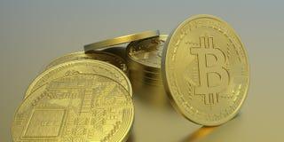 Illustrazione estremamente dettagliata e realistica di alta risoluzione 3D Bitcoin Fotografie Stock