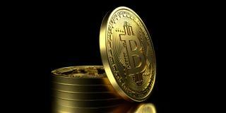 Illustrazione estremamente dettagliata e realistica di alta risoluzione 3D Bitcoin Fotografie Stock Libere da Diritti
