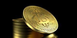 Illustrazione estremamente dettagliata e realistica di alta risoluzione 3D Bitcoin Immagini Stock