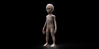 Illustrazione estremamente dettagliata e realistica di alta risoluzione 3D di uno straniero grigio extraterrestre Sparato con fon Fotografie Stock