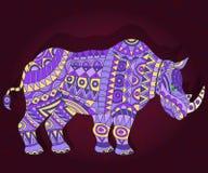 Illustrazione etnica astratta con il rinoceronte su un fondo floreale scuro Immagine Stock