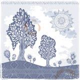 Illustrazione etnica d'annata degli alberi Fotografia Stock