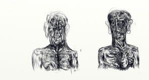 Illustrazione fatta con nankin che visualizza parallelamente il busto di due uomini illustrazione di stock