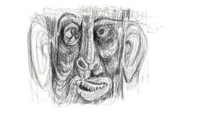 Illustrazione fatta dal dettaglio digitale di rappresentazione del disegno del fronte di un uomo afflitto, sgomento, stupito Mini illustrazione di stock