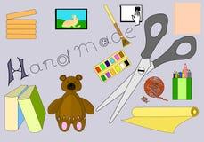 Illustrazione fatta a mano di vettore della roba Siluetta di simboli del lavoro creativo isolata su Grey Background Fotografia Stock Libera da Diritti