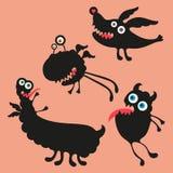 Illustrazione felice dei mostri Insieme 4 Fotografia Stock Libera da Diritti